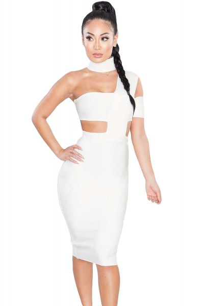 white cutout midi bandage dress with matching heels