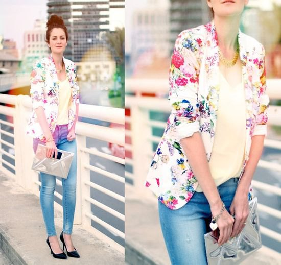 white floral printed blazer with pale yellow tank top