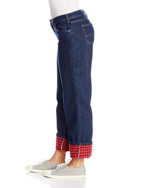 white form fitting long sleeve tee with blue straight leg flannel lined jeans