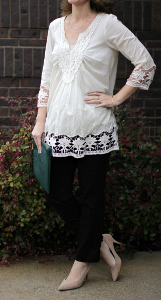 white lace long blouse with pale pink heels
