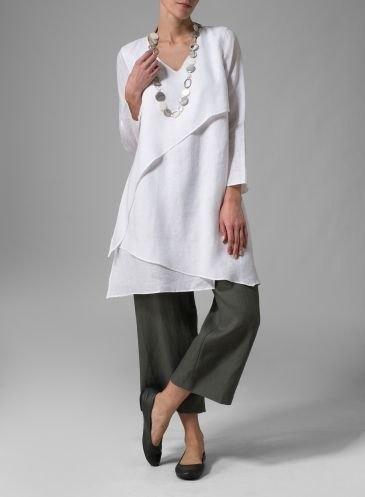 White Linen Blouse Ladies