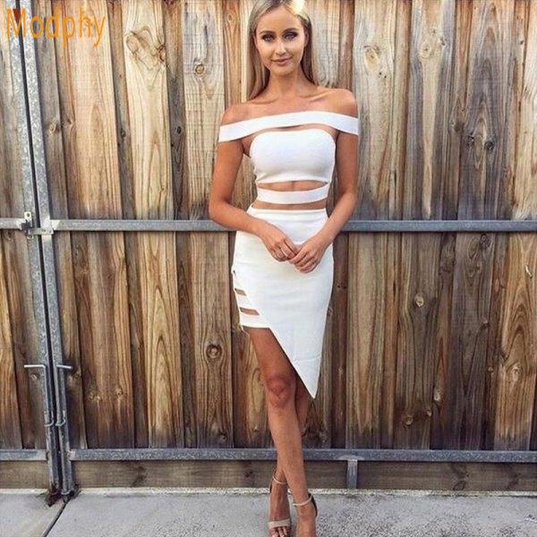 white off the shoulder cutout asymmetric bandage midi dress