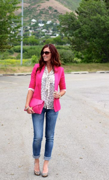 white ribbon bow printed blouse with neon pink blazer and jeans