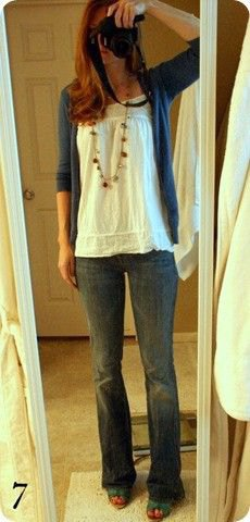 white ruched flowy tank top with navy cardigan