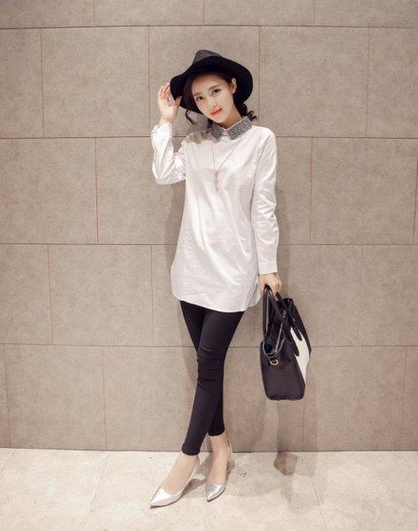white sequin collar long shirt with leggings