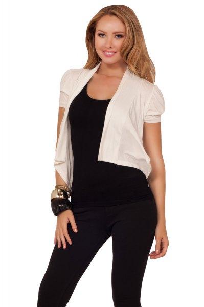 white short sleeve chiffon jacket with black scoop neck tank top