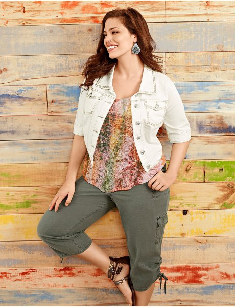 white short sleeve denim jacket with colorful top and cargo cropped pants