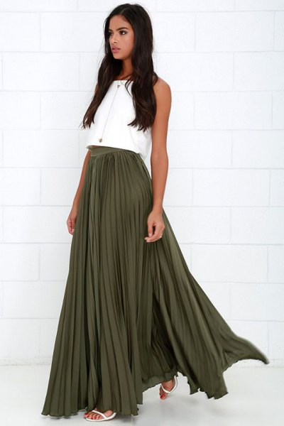 white sleeveless crop top with pleated maxi skirt
