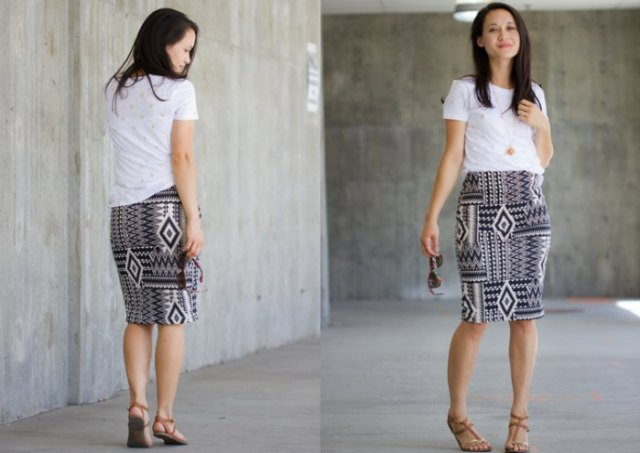 white tee with black and white tribal printed knee length knit skirt