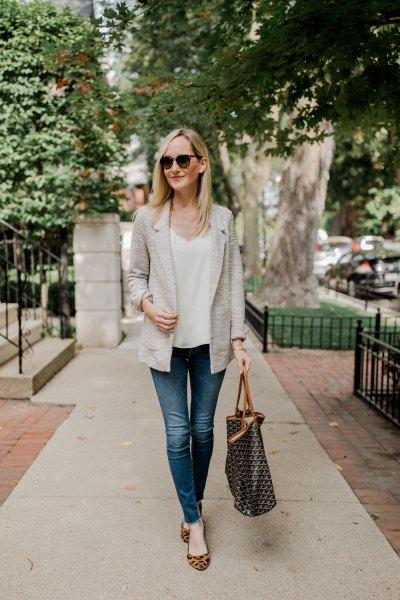 white v neck blouse and leopard print flats