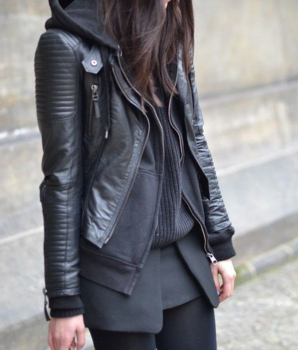 b87ddde92 How to Wear Hooded Leather Jacket: Top 13 Outfit Ideas for Women ...