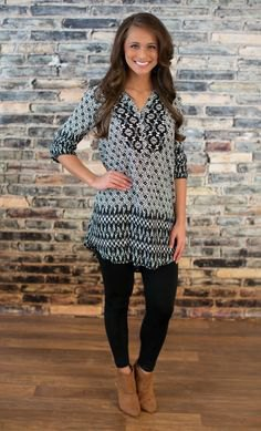 black and grey tribal printed tunic blouse with camel ankle boots