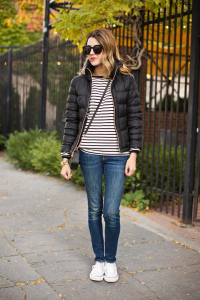 black and white striped tee with bubble jacket and sneakers