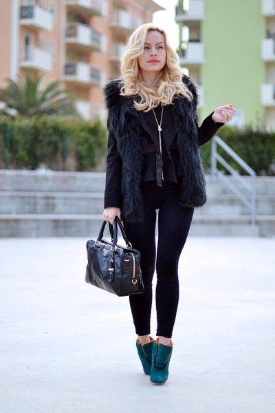 black faux fur vest with blazer and leggings