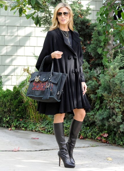 black flared knee length wool coat dress with leather heeled boots