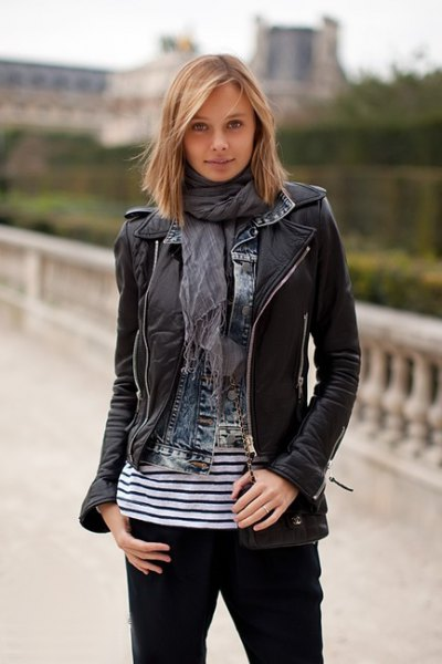 black leather jacket with grey chiffon scarf and striped tee