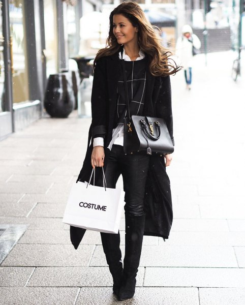 black long coat with white collar shirt and cropped sweater