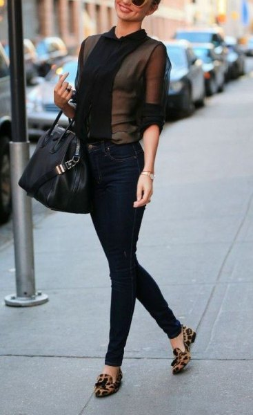 black mesh blouse with high rise jeans and tassel loafers