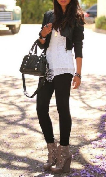 black mini leather jacket with white chiffon blouse and grey ankle boots