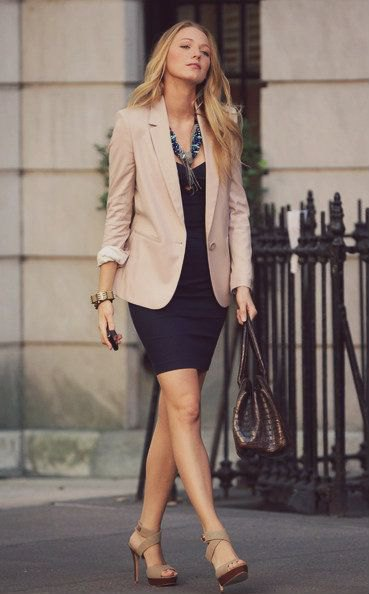 blazer with black mini sheath dress and grey open toe heels