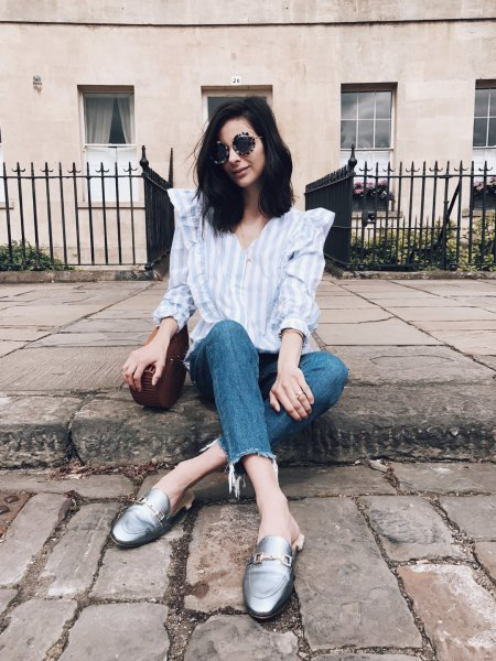 blue and white striped button up shirt with cropped jeans