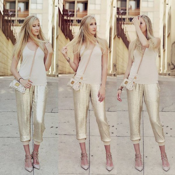 blush pink scoop neck tank top with sequin gold jogger pants