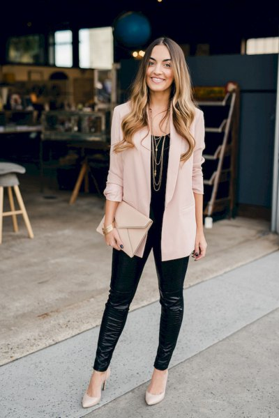blush pink thin blazer with black leather leggings