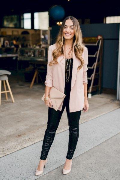 blush pink thin blazer with black leather leggings
