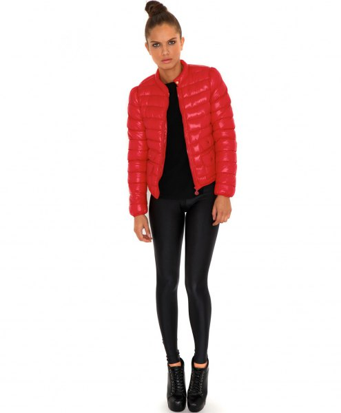 bright red fitted bubble jacket with black super skinny jeans