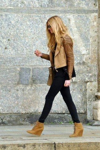 brown leather moto jacket with matching ankle wedge boots