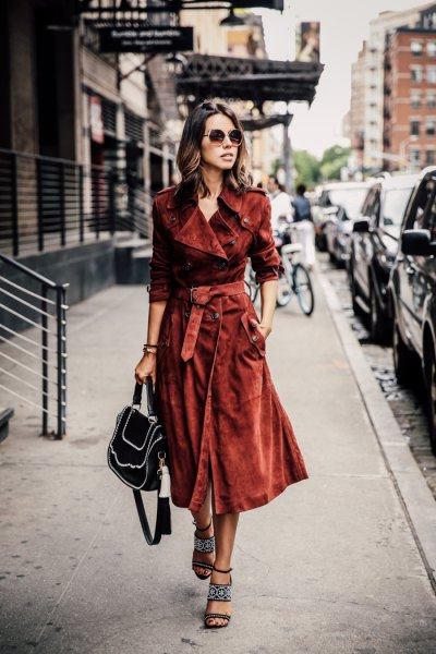 brown suede belted coat dress with black strappy heels