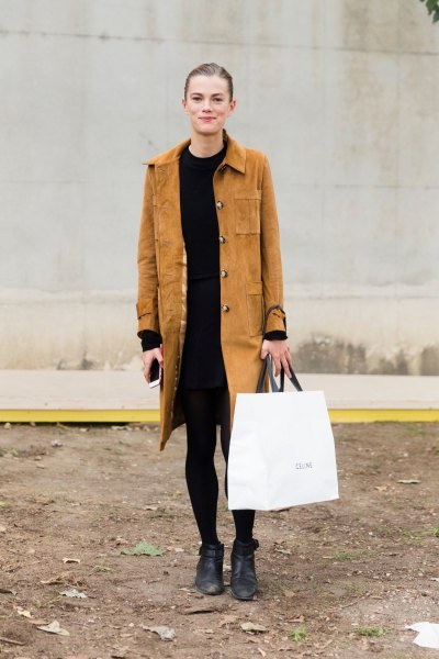 brown suede longline coat with black shift dress