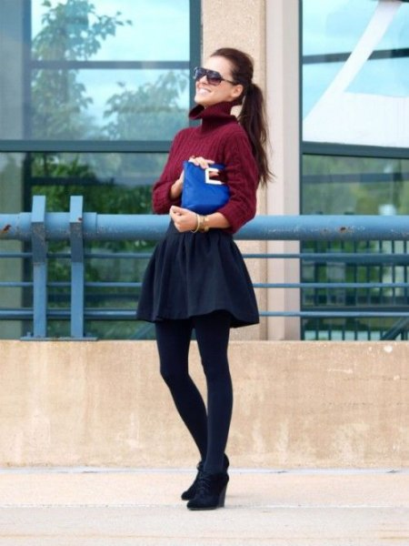 burgundy turtleneck fitted rubbed sweater with black mini skater skirt