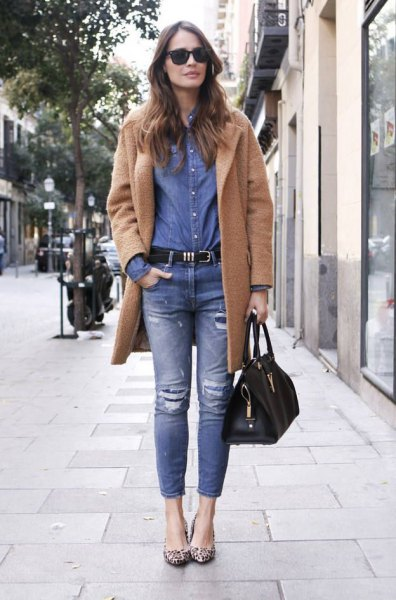 camel fleece coat with blue chambray shirt and jeans