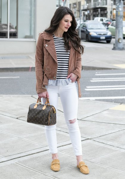 camel leather jacket with striped tee and mustard yellow backless loafers