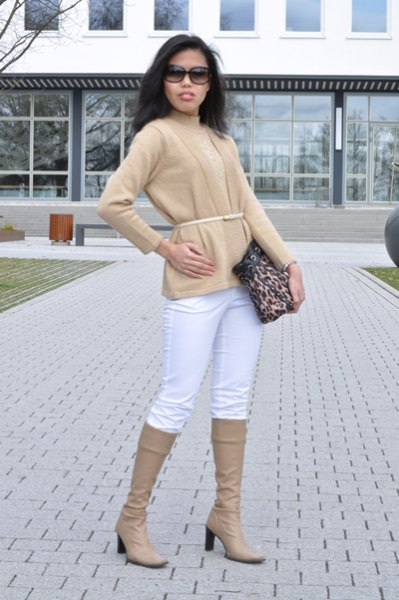 crepe belted cardigan with matching knee high boots and white jeans