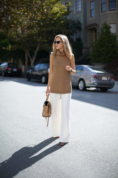 crepe turtleneck tunic sweater with white wide leg pants