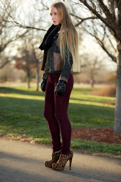 dark brown leather jacket with black corduroy skinny jeans
