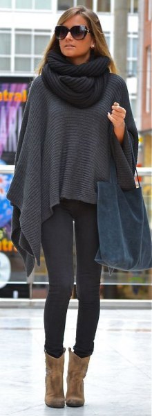 dark grey knit scarf with matching cape and suede ankle boots