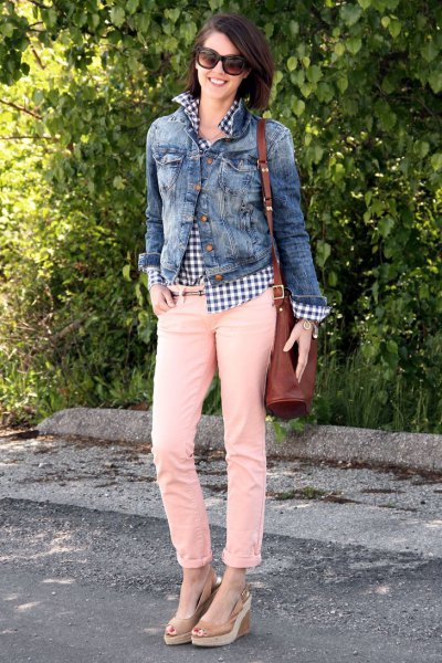 denim jacket with plaid shirt and cream slim fit jeans