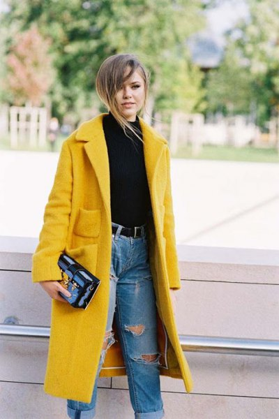fleece longline coat with blue high waisted jeans