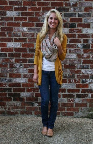 gold cardigan with blush pink infinity scarf