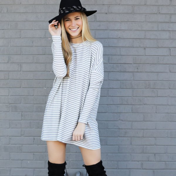 grey and white striped crew neck long sleeve mini tunic dress with felt hat