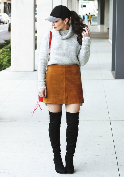 grey cowl neck sweater with brown suede skirt and black thigh high fall boots