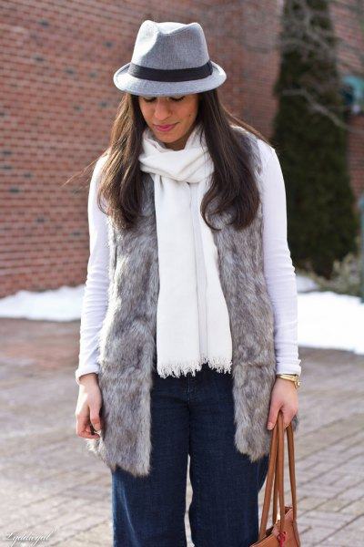 grey faux fur vest with white long sleeve tee and matching scarf