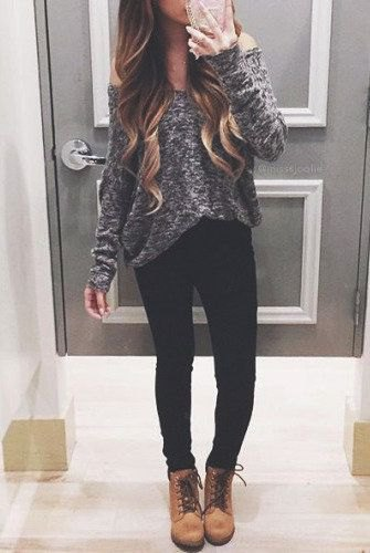 grey heather grey off the shoulder sweater with camel lace up boots