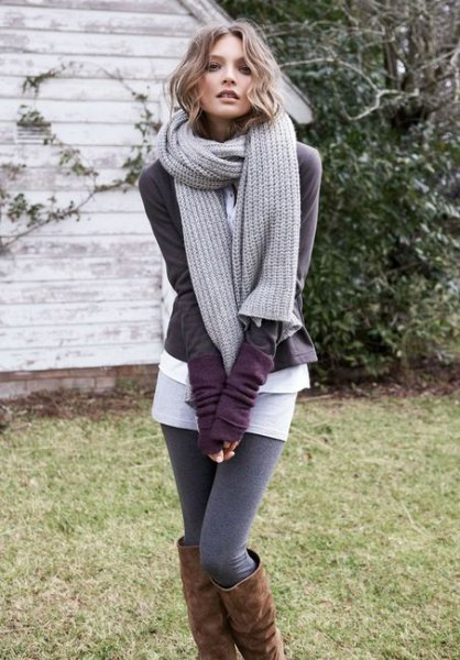 grey knit scarf with cardigan and sweater leggings
