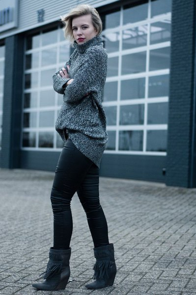 grey mock neck chunky knit sweater with black wide calf leather wedge boots