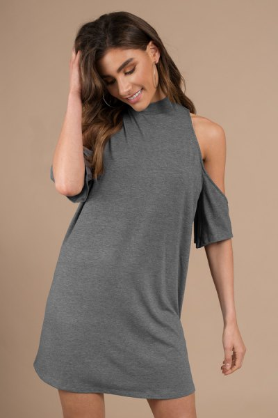 grey mock neck cold shoulder tunic tee dress