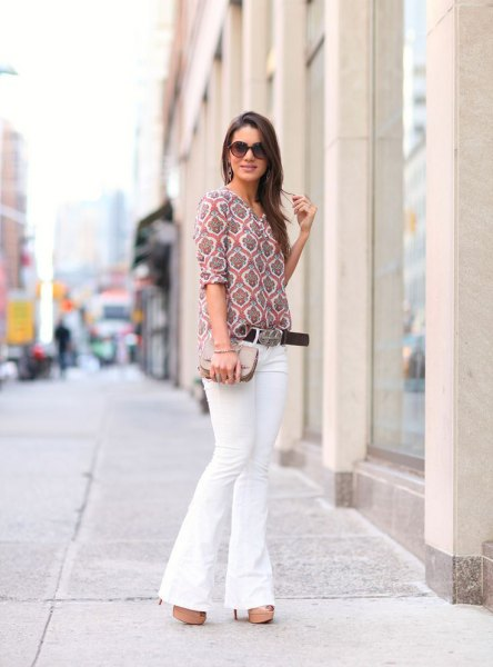 grey printed half sleeve blouse with white bell bottom jeans